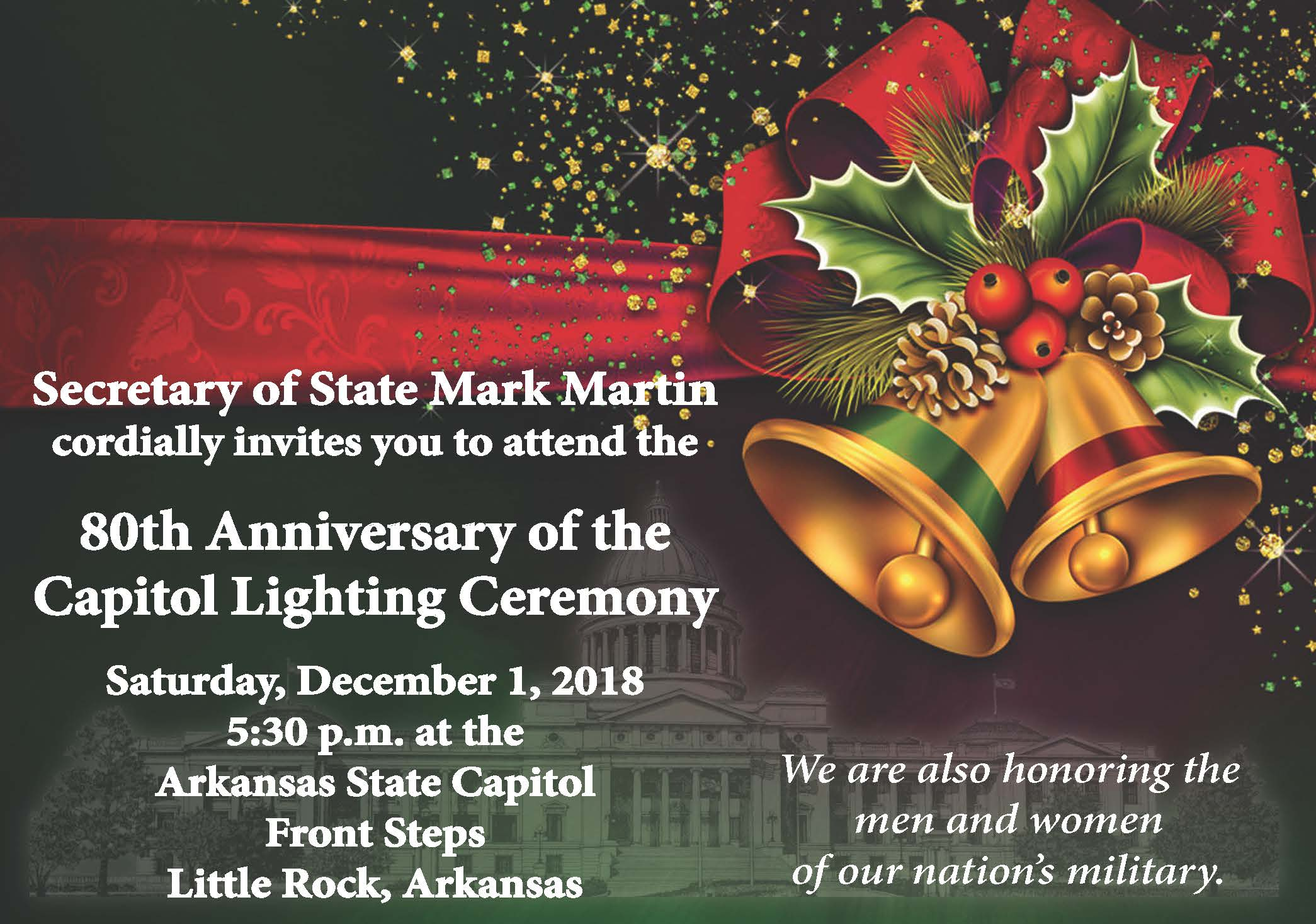 Capitol Lighting Ceremony set for Saturday